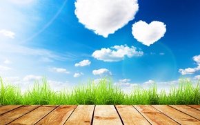 Wallpaper clouds, grass, the sky, the sun, summer, greens, Board, Valentine's day, hearts