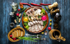 Picture food, bread, cutting, spices, mustard, sauces, horseradish, meaty