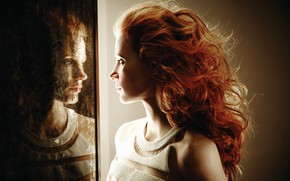 Picture profile, red, curls, Jessica Chastain