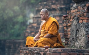 Picture Wall, Pose, Portrait, Religion, Monk, Meditation