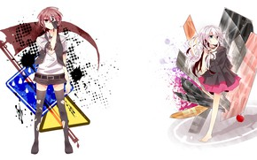 Picture style, anime, art, white background, Vocaloid, Vocaloid, characters