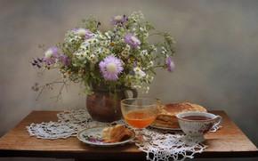 Picture summer, flowers, tea, OSA, honey, still life, pancakes, field, June
