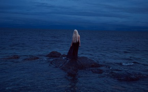 Picture the sky, girl, clouds, stones, mood, dress, blonde, twilight, pond, long-haired