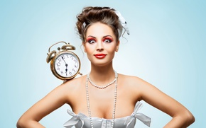Wallpaper dress, in white, girl, surprise, makeup, hairstyle, brown hair, face, alarm clock, watch, background, beads