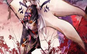 Picture girl, anime, flag, art, yukata, Fate Grand Order, The destiny of a great campaign