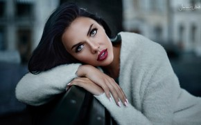 Picture pose, background, model, portrait, makeup, brunette, hairstyle, beauty, jacket, Olga, bokeh, Javier Ullastres, Olga Maria …