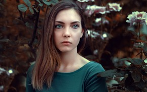 Picture flowers, model, portrait, makeup, garden, hairstyle, brown hair, the bushes, Anna, bokeh, Field Stephen