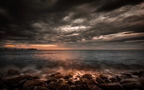 Picture sea, clouds, nature, shore