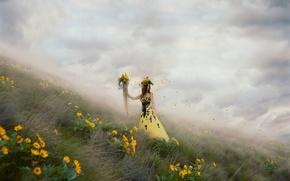 Picture girl, flowers, fog, petals, dress