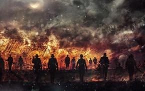 Picture fire, battlefield, flame, gun, weapon, war, rifle, Skull, warriors, uniform, machine gun, spark, Waffen SS, …