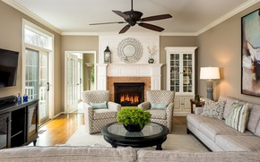 Picture design, sofa, fire, chairs, fireplace, table, living room, sideboard