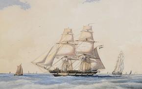 Picture ships, sails, 1865, Jacob European Communities V United Kingdom, Brig Nordenskjöld