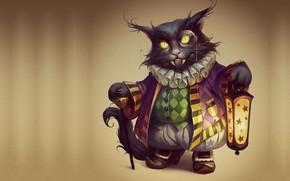 Wallpaper cat, holiday, art, Halloween, vampire, Halloween, suit, Valeria Styajkina, 2d