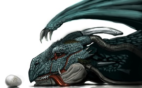 Picture face, dragon, egg, mouth, claws, fangs, horns, art, vanipo, Jeshua