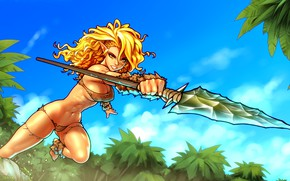Wallpaper throw, spear, chest, girl, hair, body, blonde, elf