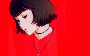 Picture face, haircut, mole, sponge, red background, bangs, portrait of a girl, Ilya Kuvshinov, the chain …