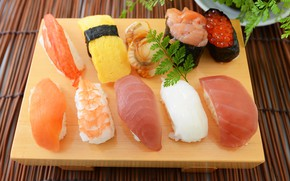 Picture fish, caviar, sushi, seafood