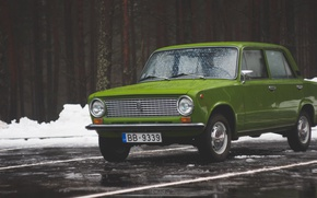 Picture snow, Winter, penny, green, Lada, 2101, Latvia, Sdmedia, round headlights