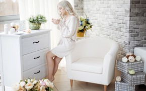 Picture girl, flowers, room, interior, chair, candles, makeup, window, hairstyle, blonde, Cup, curtains, in white, chest, ...