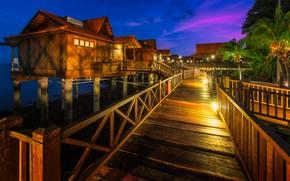 Wallpaper Berjaya Langkawi Resort, lights, tropics, night, lights, sea, Bay, resort, Malaysia, houses, palm trees