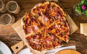 Picture cheese, Board, pizza, sausage, delicious, bacon