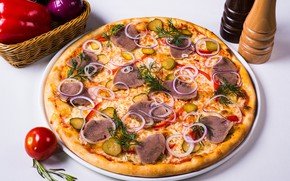 Picture cucumber, bow, meat, vegetables, pizza, tomato