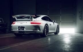 Picture 911, Porsche, GT3, White, Supercar, Garage, Rear