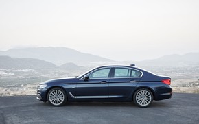 Picture the sky, mountains, BMW, profile, sedan, xDrive, 530d, Luxury Line, 5, dark blue, four-door, 2017, …
