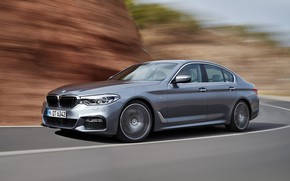 Picture road, grey, movement, markup, BMW, sedan, 540i, 5, M Sport, four-door, 2017, 5-series, G30