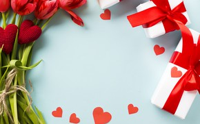 Picture love, flowers, bouquet, gifts, hearts, tulips, Valentine's day