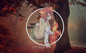 Picture forest, cat, girl, anime, madskillz, agnoli