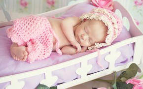 Picture sleeping, girl, cap, baby, cot, pants