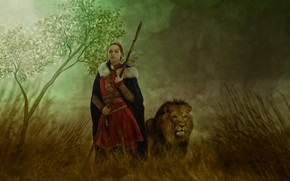 Picture girl, tree, Leo, warrior, spear