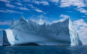 Picture sea, iceberg, boat, Greenland