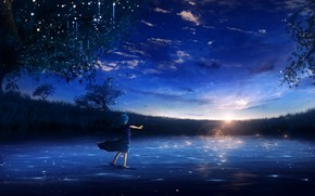 Picture water, girl, sunset, nature, Y_Y