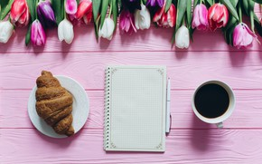 Picture Tulips, Coffee, Drink, Notepad, Handle, Croissant