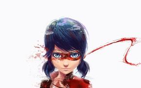 Picture girl, anime, blue eyes, fan art, artwork, mask, white background, simple background, blue hair, anime …