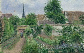 Picture landscape, picture, Camille Pissarro, Garden. The Gloomy Morning. Eragny
