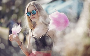 Picture summer, girl, glasses, bokeh, cotton candy