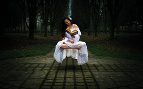 Wallpaper GIRL, BOOK, LEVITATION