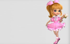 Picture art, ice cream, girl, bow, platishko, dragon jiang, A little girl