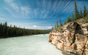 Picture forest, rock, river, Canada, Albert, Alberta, Canada, Bow River, The Bow River