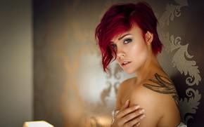 Wallpaper girl, blue eyes, tatoo, redhead, look, Miri, bare shoulders, Miri Be