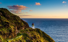 Picture the sky, clouds, sunset, rocks, shore, lighthouse, height, trail, horizon, Hawaii, USA, The Pacific ocean