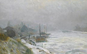 Picture landscape, river, picture, Albert Charles Lebar, Albert Lebourg, Hay In The Winter