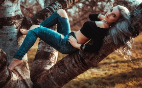 Picture look, pose, tree, feet, jeans, Loba, Andreas-Joachim Lins