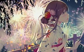 Picture girl, salute, festival