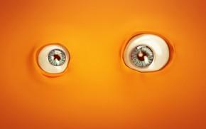 Wallpaper Links, digital art, minimalism, orange, artist, artwork, eyes