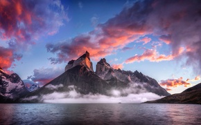Picture the sky, clouds, mountains, fog, lake, Patagonia