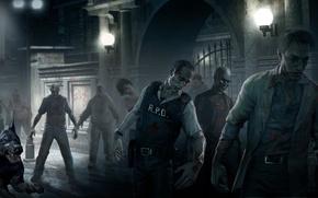 Picture zombie, blood, game, undead, police, dog, Resident Evil, man, cop, Biohazard, cerberus, bulletproof vest, doberman, …